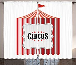 Ambesonne Circus Decor Collection, Circus Tent Flag Pole Classic Festival and Childish Joy Leisure Themed Print, Window Treatments for Kids Girls Boys Bedroom Curtain 2 Panels Set, 108X63 Inches, Red