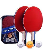 Joy.J Sets de Ping Pong, 2 Raquetas de Ping Pong + 3 Pelotas + 1 Bolsa, Profesionales Palas Ping Pong, Cómodo Mango   Esponja de Alta Elasticidad   Goma de Doble Cara (Conjunto recreativo)