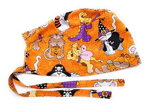 Scrub Hat Halloween Cats Dressed Up Fabric Nurse Cap Doctor Do-Rag ER Skull