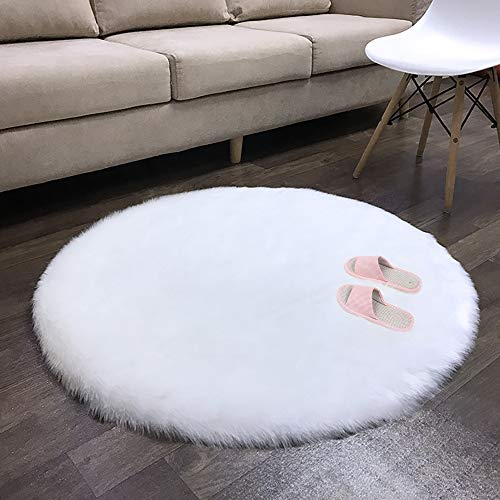 (Villsure Round Faux Fur Rug 4ft, White Fluffy Sheepskin Area Rugs for Bedroom Floor Living Room Dormitory Home Décor, Bedside Carpet)