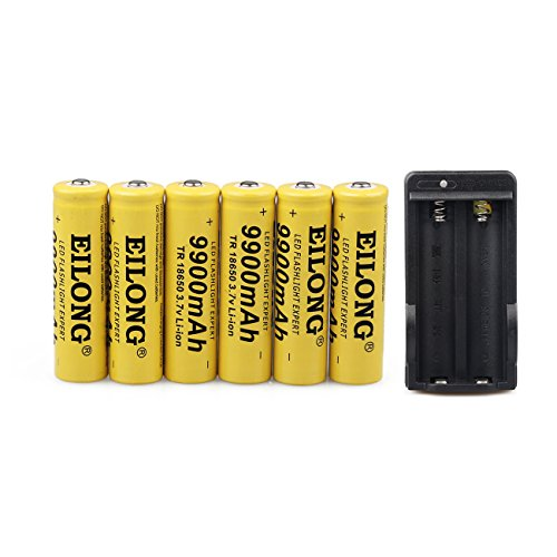 6PCS 18650 3.7V 9900mAh Battery Rechargeable Li-ion Batteries with Battery Charger