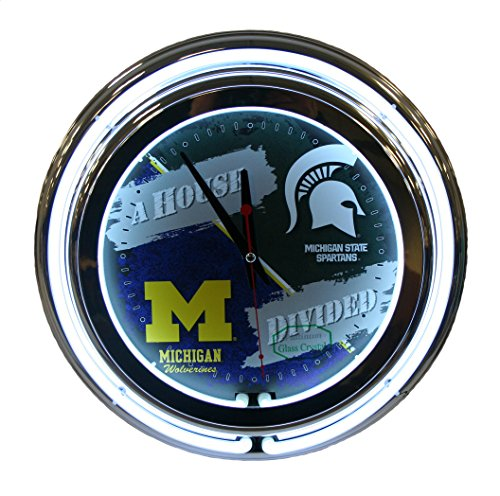 Michigan State / Michigan NCAA 16'' Deluxe Neon Clock by Holland Bar Stool