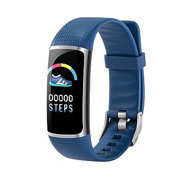 Hemobllo B32 Bluetooth Pulsera Inteligente podómetro de Ritmo cardíaco Impermeable Reloj Inteligente (Azul): Amazon.es: Electrónica