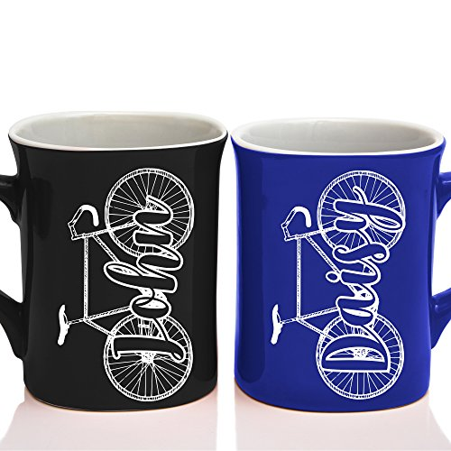 Personalized Couple Matching Coffee Mug - Free Laser Engraving - 7 different colors - Bicycle Coffee Mug
