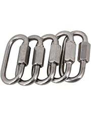 BQLZR Multifunctional 304 Stainless Steel Quick Oval Link Ring Hook M4 Pack of 5