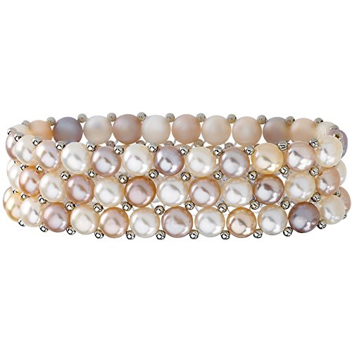 Natural Multicolor Pearl & Sterling Silver Stretch Bracelet (Multi Pearl Cultured Color Rows)