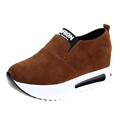 92dc43ebe0f3e Sharemen Women Fashion Casual Flock Slip-On Thick Platform Sport Sneakers  Wedges Shoes