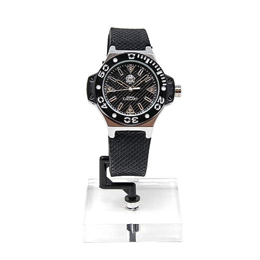 Relojes Calgary, Portofino Black Silver, Correa Negra Esfera Negra Caja Plateada Resistente al Agua 5 ATM: Amazon.es: Relojes