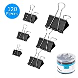 AbdTech 120Pcs Binder Clips Assorted Sizes Paper Binder Clips Clamps Assorted with Container for Kids and Adults,Black Clips Great for Photos Papers Home Office Supplies
