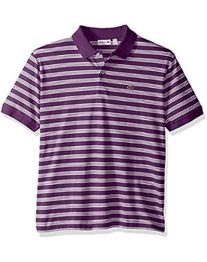 Men's Short Sleeve Jersey Interlock Stripe Regular Woven Shirt