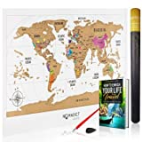 Deluxe Scratch Off World Map - Colorful Travel Poster with Global Countries and US States. Track and Share Your Adventures. Includes Bonus Precision Pen, Scratcher and E-Book - Perfect for Travelers