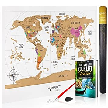 Amazon deluxe scratch off world map colorful travel poster deluxe scratch off world map colorful travel poster with global countries and us states gumiabroncs Image collections
