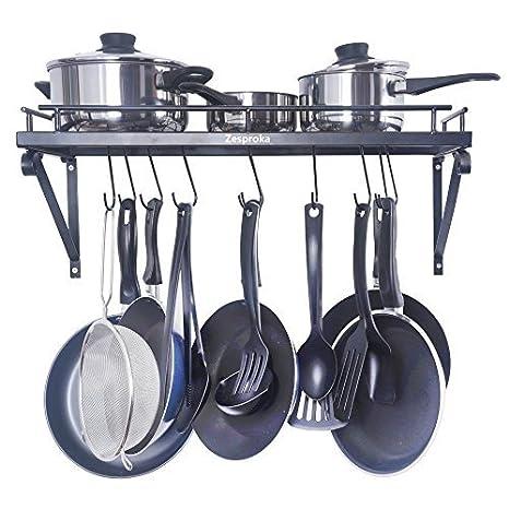 Amazoncom ZESPROKA Kitchen Wall Pot Pan Rack With Hooks Black - Pot and pan hanger for kitchen