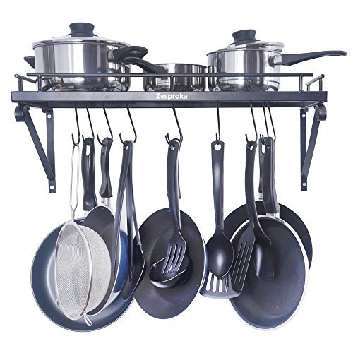 ZESPROKA Kitchen Wall Pot Pan Rack,With 10 Hooks,Black ()