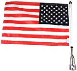 Pro Pad RFM-FXD5 Rear Fixed Motorcycle Flag Mount Kit and 6″ x 9″ USA Flag, for 2006+ Screamin Eagle Tour Pack Rack, 5/8″ Round Bar, Stainless Steel, Made in the USA For Sale