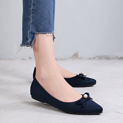 b909eabaa2d ... Matari Mujeres Pointed Toes Nude Zapatos Estilo Simple Pearl-decorated  Flats Navy Blue