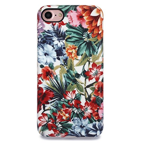 iPhone 7 Case for Girls/iPhone 8 Floral Case, GOLINK Floral Series MATTE Finish Slim-Fit Anti-Scratch Shock Proof Anti-Finger Print Flexible TPU Gel Case For iPhone 7/iPhone 8 - Colorful - Floral Finish