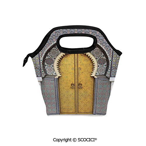 Picnic Food Insulated Cooler Tote Lunch Bag Golden Door of Royal Palace in Fes Morocco Vintage Moroccan Artwork Mosaic Style Organizer Lunchbox for Women Men Kids.