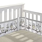 BreathableBaby 3pc Classic Crib Bedding Set- Owl Fun Gray