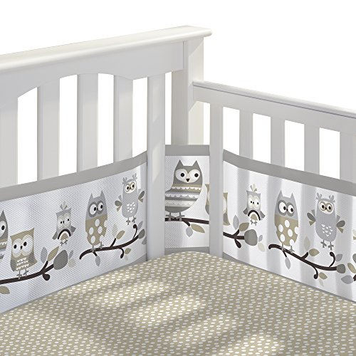 BreathableBaby 3pc Classic Crib Bedding Set– Owl Fun Gray