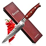 SEDGE Utility Knife for Ktichen - Japanese Damascus AUS-10V High Carbon Steel - Hammered Finish - With Non-Slip Full-tang Ergonomic G10 Handle - SD-H Series - 5'