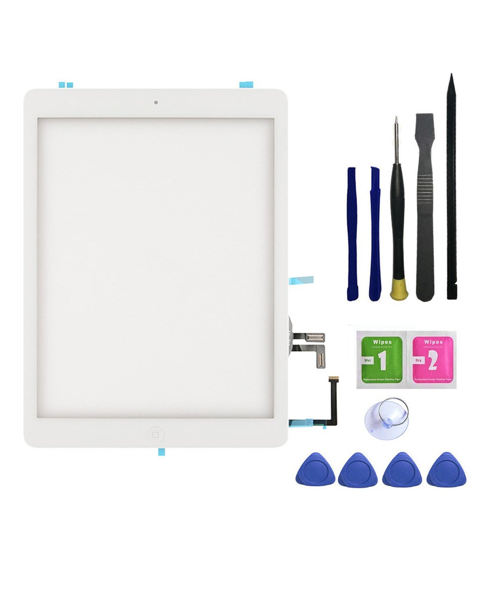 FeiyueTech IPad Air 1st Generation (IPad 5) Touch Screen Digitizer Replacement ,Front Glass Assembly -Includes Home Button + Camera Holder+PreInstalled Adhesive with tools kit .(white)