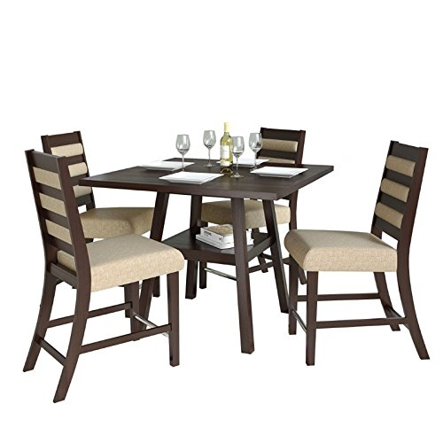 "CorLiving Bistro 5 Piece 36"" Counter Height Dining Set in Woven Cream"