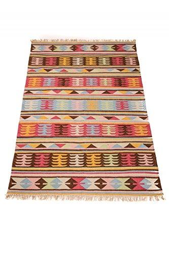 Orientalischer Indischer Handgewebter Orient Wohnzimmer Teppich Kelim Deniz  Gross   100% Baumwolle 150x240cm