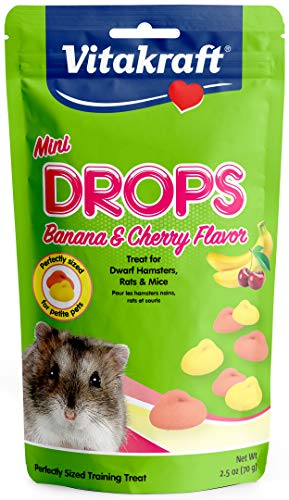 Vitakraft Drops Mini Banana & Cherry Flavor Dwarf Hamster, Rat, and Mouse Treat, 2.5 oz