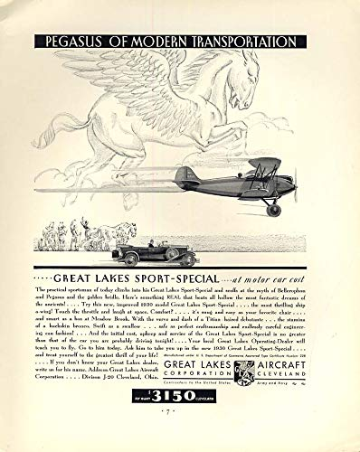 Pegasus of Modern Transportation Great Lakes Sport-Special Biplane ad 1930 F from The Jumping Frog