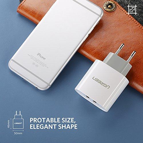 Color Blanco UGREEN 20384 Cargador con 2 Puertos USB 5V//2.4A y 5V//1A USB Adaptador de Corriente 17W Enchufe Europeo