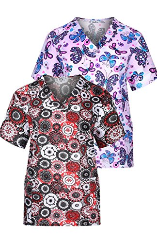 Minty Mint Womens Medical Scrub Printed V-Neck Top Multi Pack