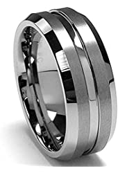 King Will 8mm High Polished Center / Matte Finish Men's Tungsten Ring Wedding Band Comfort Fit