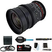 Rokinon 35mm T1.5 Wide Angle Cine Lens (CV35M-MFT) for Olympus and Panasonic MFT Micro Four Thirds Mount (CV35M-MFT) + Accessory Bundle