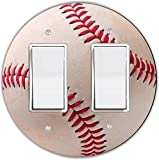 Rikki Knight Baseball Red and White Design Round Double Rocker Light Switch Plate