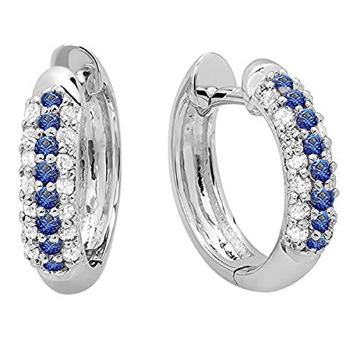 Dazzlingrock Collection 10K Round Blue Sapphire & White Diamond Pave Set Huggies Hoop Earrings, White Gold (Heated Round Blue Sapphire)