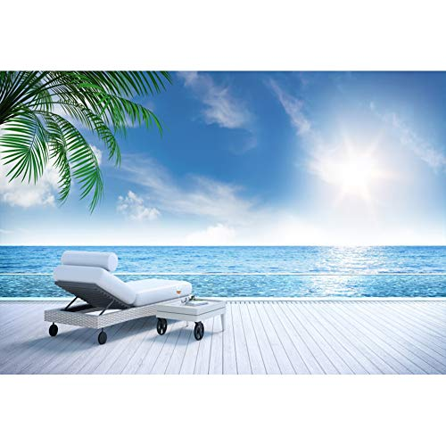 Leyiyi 10x6.5ft Backdrop Seascape Sofa Blue Sky Palm Trees White Board Summer Scenic Background Photo Studio Props