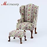 Fine 1/12 Scale Miniature Furniture Fabric Footrest and chair