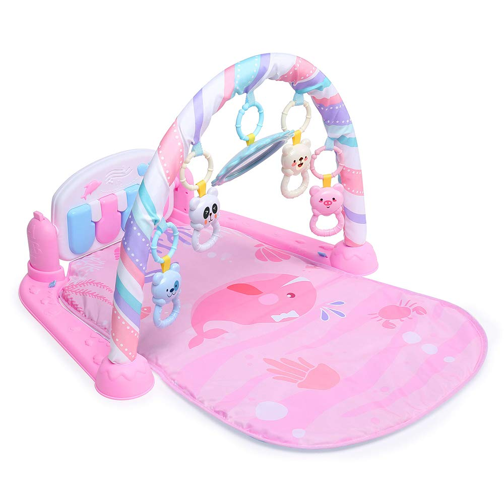 YIFAN ベビー ジム プレイマット ピアノ アクティビティジム ライトと音楽付き 赤ちゃんのおもちゃ クリスマス 誕生日   B07HMVM9B4