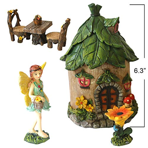 BangBangDa Miniature Fairy Garden Accessories - Small Fairy Figurines Decorations - Fairy House Table Chair Flower Kit for Girl Mini Garden Ornaments (Set of 6) (Fairies Gardens Miniature For)