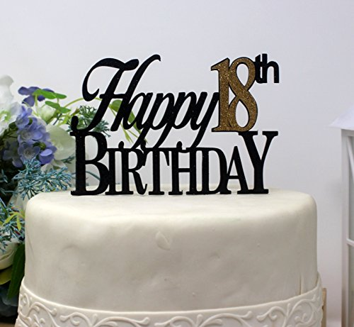 All About Details CATH18BBGO Happy, 1pc, 18th Birthday, Cake, Party Decor, Glitter Topper (Black & Gold), 4in Tall (Plus 2pcs of 4-in Wood skewers) & 6-in Wide by All About Details (Image #4)