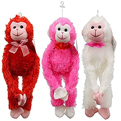 Fuzzy Friends Valentine's Day Stuffed Animals Plush Monkey Bundle: 3 Items - 1 of Each Color Bright White, Red, and Pink Plush Monkey: Toys & Games