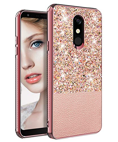 LG Stylo 5 Case,LG Stylo 5 Phone Case,TOPSKY Slim Fit Bling Glitter PU Leather Case for Girls Women Shockproof Protective Cover Case for LG Stylo 5 Pink