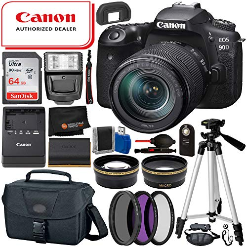 Canon EOS 90D DSLR Camera with 18-135mm Lens (3616C016) & 15PC Professional Accessory Bundle – Includes: SanDisk Ultra 64GB SDHC Memory Card + Wide Angle & Telephoto Lens Attachments + More