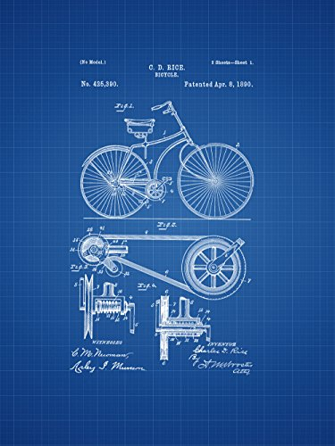 Framable Patent Art Original Retro Bike Vintage Petal 18in by 24in Poster Print Blueprint PAPSP129B from Framable Patent Art