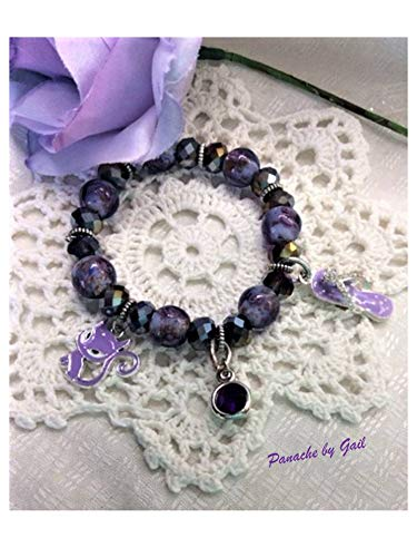Jewelry, Stretchy Bracelet, Handmade, Statement Dangle Charms, Summer, Beach OOAK