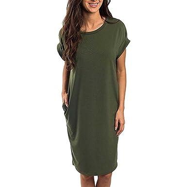 654959def53 Kinrui Womens Fashion Pocket Women Loose T Shirts Home Long Shirt Mini Dresses  Tops (Army