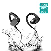 #LightningDeal Bluetooth Headphones Waterproof IPX7, Wireless Earbuds Sport, Richer Bass HiFi Stereo in-Ear Earphones w/Mic, OVEVO,Case, 8 Hrs Playback Noise Cancelling Headsets (Comfy & Fast Pairing),8GB MP3.