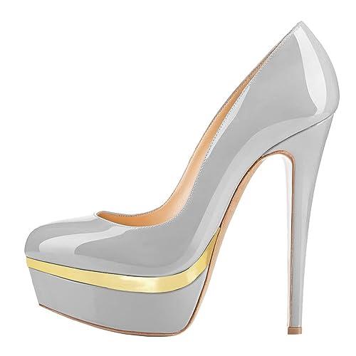 MONICOCO Übergröße Round Toe Mehrfarbig Stiletto Pumps mit Plateau für Party Hochzeit