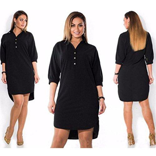 Quarter Sleeve Mini (TAORE Women Plus Size Summer Dress Three Quarter Sleeve Mini Dress, S~4XL (6XL, Black))